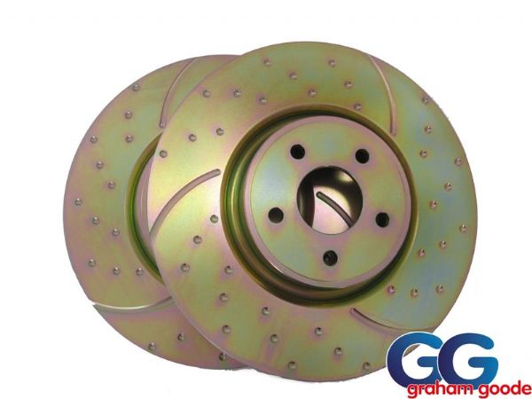 Rear Brake Discs Focus RS mk2 09- EBC 3GD Turbo Dimpled & Grooved Pair x2 GD1501